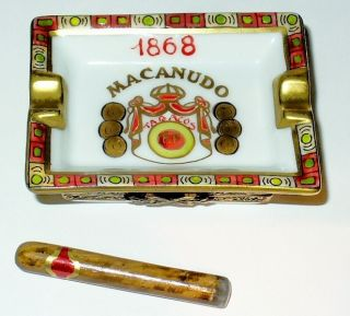 LIMOGES BOX MACANUDO ASHTRAY CIGAR MAP OF CUBA JAMAICA PEINT MAIN