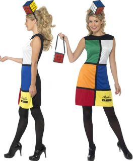Ladies Rubiks Cube 80s Retro Puzzle Fancy Dress Costume Hat Bag Size 8