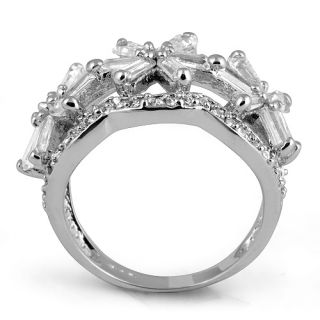 Round Cubic Zirconia Star Style Engagement Wedding Ring Sterling
