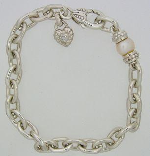 Judith Ripka Sterling Silver Pearl Cubic Zirconia Heart Bracelet