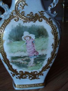 Daulton Lambeth England Crown Pottery Vase Naked Baby Girl Scenes Many