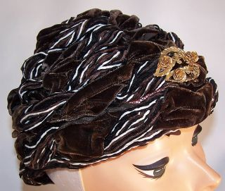 Vintage 1960s MC Curdys Brown Velvet Gold Brooch Pin Wrapped Turban