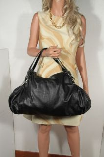 David Jones Paris Black Leather Like Large Tote Handbag