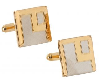 Cufflinks Mens Gold And Silver Tone Textured Block Square Two