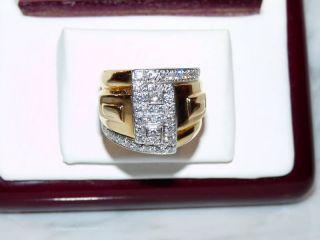 Vintage David Webb 18 K Gold Platinum Diamond Ring Band