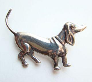 C1940s Los Castillo Dachshund Dog Pin Brooch Sterling Mexico 672