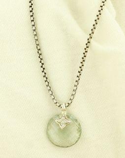 DAVID YURMAN Capri Prasiolite Diamond & Silver Box Chain Pendant