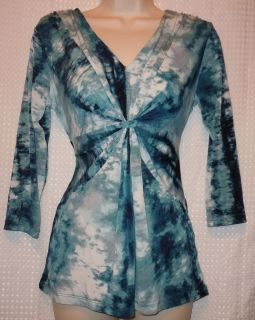 Daisy Fuentes Womens Blue White Marble 3 4 Sleeve Shirt S