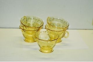 5 Heisey Empress Sahara Yellow Cup Cups
