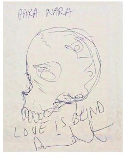 Damien Hirst Original Skull Drawing Signed Inscribed Listed in Artinfo