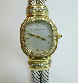 David Yurman 18K gold diamond silver Chelsea watch bracelet bangle