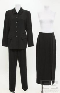 Dana Buchman 3pc Charcoal Grey Wool Blazer Skirt Pant Suit Sz 10 12 14