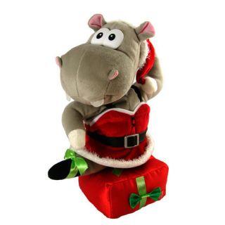 Singing Dancing Christmas Holiday Stuffed Plush Hippo