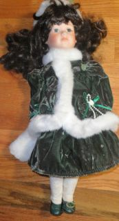 Collectors Choice by Dan Dee Porcelain Doll 16 Dark Brown Hair Green