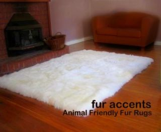 Rug White Bear Sheepskin Mink Wolf Plush Pelt Throw Shag Rug New