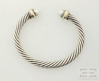 David Yurman Sterling Silver & 14K Gold Pearl Cable Bracelet