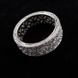 Tacori Sterling Silver Antique Inspired Eternity Ring Size 8