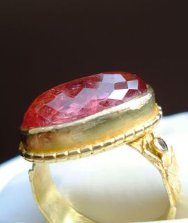 cts Pink Tourmaline 18K Y Gold Ring Checkerboard Cut