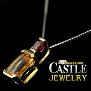 Emerald Cut Citrine Pendant with Princess Cut Garnet Accents