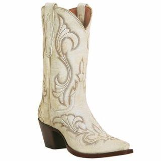 Dan Post El Paso Cowboy Leather 11 Ladies Boots White