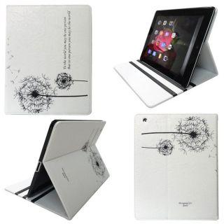 iPad 3 2 Dandelion Design Stand Leather Smart Case Cover White
