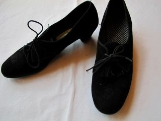 VTG 70s Daniel Green Black Suede Leather Oxford Shoes Fringe 10