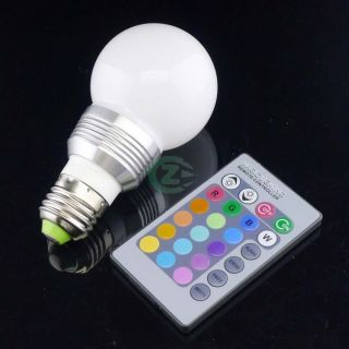 3W E27 16 Color Changed RGB LED Light Lamp Bulb 85~265V + IR Remote
