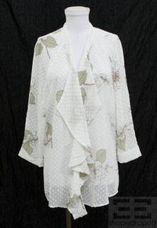 Daniel Rainn White Swiss Dot Floral Open Jacket Size Large NEW