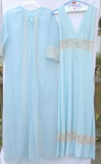 Night Gown Robe Set Sz M Soiree by Danielle Blue Beige Lace
