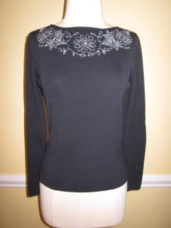CYRUS WOMENS FLOWER EMBROIDERED BLACK LONG SLEEVE KNIT TOP BLOUSE S