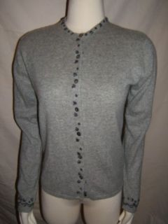 DEANE WHITE 100 Cashmere Gray Sweater Size Medium