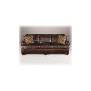 Ashley Axiom Walnut Elegant Genuine Leather Formal Sofa and Love