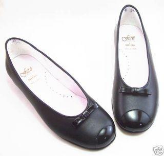 NIB de OSU Faro Girls Black Leather Ballerina Dress Flats Euro 34 40