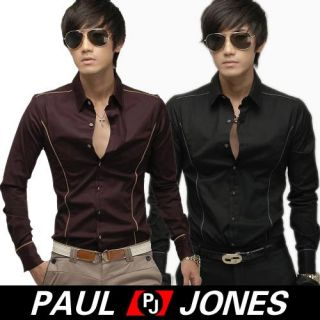 Paul Jones Mens Fashion Casual Fit Buttons Down Dress Shirts Blue Size