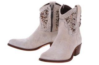 Frye Eccru Grey Deborah Studded Womens Short Western Ankle Boots