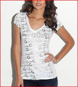 New G by Guess Debra Rhinestone Logo Tee White Size L