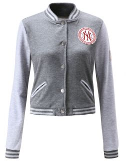 Ladies Baseball Jacket in Dark Grey Black Light Grey
