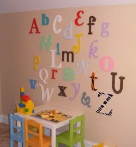 Alphabet Wooden Letters Set Painted 12 to 6 Mixed Fonts and Sizes