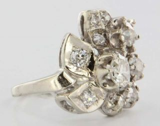 Antique Deco 14k White Gold Diamond Cocktail Ring Vintage Fine Jewelry