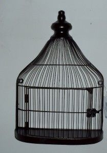 Set of Two Metal Flat Sided Bird Cages Decoration Only not for Birds