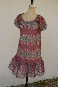 nwt royal love bohemian chic peasant ruffle dress small