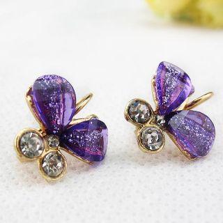 Colors Rose Gold Rhinestone Butterfly Womens Earrings Ear Buckles