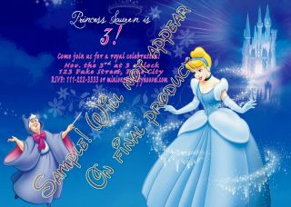 Cinderella Personalized Birthday Party Invitations Custom U Print