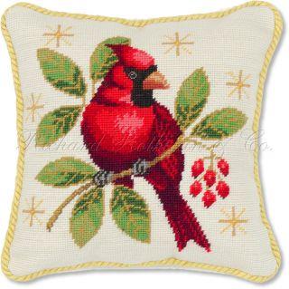 Decorative Holiday Red Cardinal Bird Seasonal Christmas Pillow