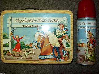 Roy Rogers Dale Evans Double R Bar Ranch lunchbox thermos CLEAN strong
