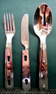 BOY SCOUT bsa VITT L KIT,STAINLESS FORK KNIFE SPOON+CASE dave meissner