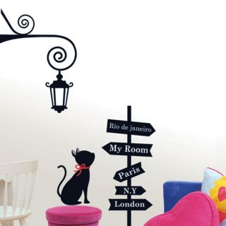 Cat Kids Room Wall Stickers Vinyl Decals Home Decor Tracking