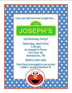 Personalized Elmo Sesame Street Birthday Party Invitations