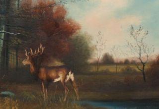 Antique Hudson River School Deer Buck Fall Oil Painting Original Wide