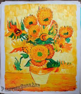 Hand Painted Van Gogh Sun Flower Oil Painting Canvas Art 194